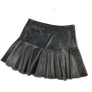 [ Ella Moss ] Faux Leather Black Laser Cut Skirt